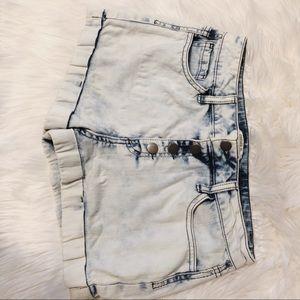 White wash denim shorts high waisted